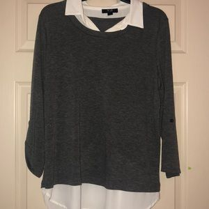 Grey and White collared blouse